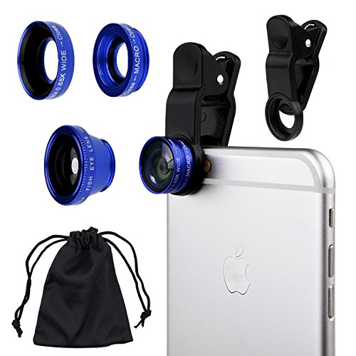 CamKix Universal 3 in 1 Cell Phone Camera Lens Kit for Smartphones Including - Fish Eye Lens / 2 in 1 Macro Lens & Wide Angle Lens/Universal Clip/Carry Pouch/Microfiber Cleaning Cloth