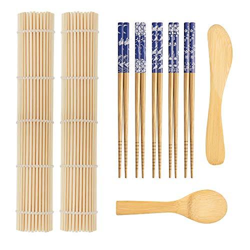 9 PCS Premium Sushi Making Kit, Sushi Mat, Including 2 Sushi Roller - Glue Free, 5 Pairs of Chopsticks, 1 Paddle, 1 Spreader, Quality Smooth Helper for Sushi