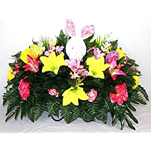 XL Easter Artificial Silk Flower Cemetery Tombstone Grave Saddle