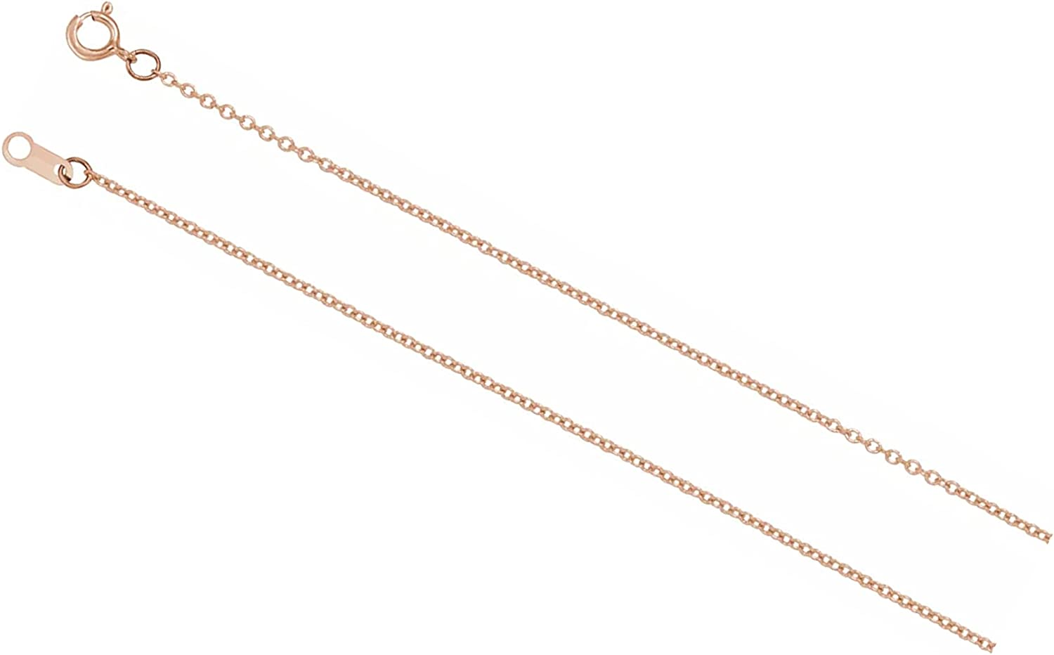 14K Rose Gold 1.5mm Solid Cable Chain