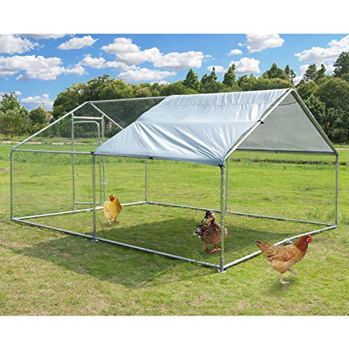 Large Metal Chicken Coop Walk-in Poultry Cage Hen Run House Rabbits Habitat Cage Spire Shaped Coop...