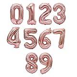 Globo Número Gigante en Metalizado Ideal para Fiesta de cumpleaños y Aniversarios - 110 cm - Hinchable (Rosa, Número 8)