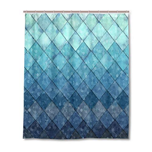 Meerjungfrauen-Duschvorhänge, Ozeanblau, Blaugrün, Fischschuppen, geometrische Raute, Badezimmerstoff