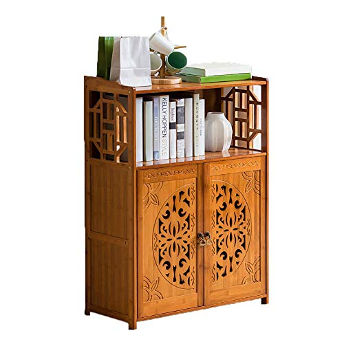 Shelves Vintage Bookshelf Solid wood,Bamboo Simple Open shelf Floor-standing Multifunctional Storage rack For kids For home or office-A 70x30x102cm(28x12x40),Size:70x30x102cm(28x12x40),Colour:A Flower