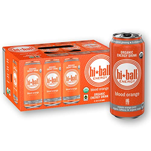 Hiball Energy Blood Orange Certified Organic Energy Drink, 16 Fluid Ounce Cans, 8 Count