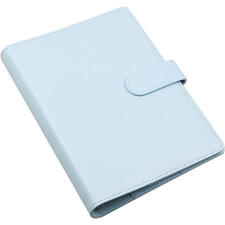 Cuaderno de piel sintética tamaño A5, rellenable, 6 anillas, redondo, para papel de relleno, diario de viaje, con bolsillo para tarjetas de visita, funda para diario con hebilla magnética,Blue