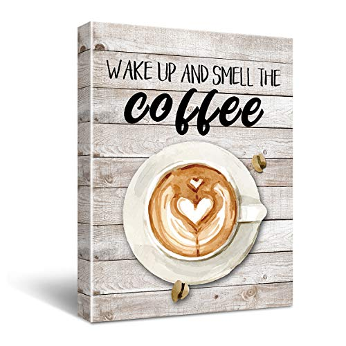 Wake Up And Smell The Coffee Canvas Wall Art For Dining Home Decoration, Coffee Wall Art Kitchen Home Decor Canvas, Coffee Shop Dining Room Decor