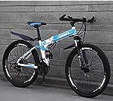 ZHTY Mountain Bike Folding Bikes, 26In 21-Speed Double Disc Brake Full Suspension Anti-Slip, Lightweight Frame, Suspension Fork