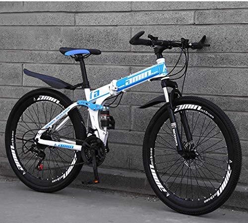 Mnjin Bicicletas Plegables de Bicicleta de montaña, Freno de Disco Doble de 21 velocidades y 21 Pulgadas, suspensión Completa Antideslizante, Cuadro de Aluminio Ligero, Horquilla de suspensión