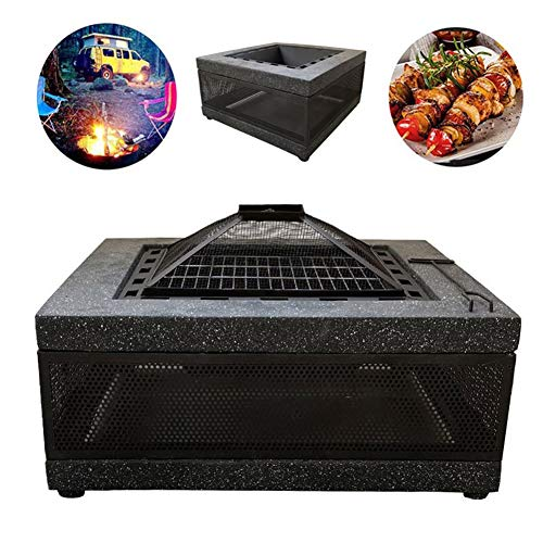 DTLEO Outdoor Square Firepit,Backyard Patio Garden Stove Wood Burning BBQ Fire Pit,Includes Mesh Spark Screen Top Waterproof Cover and Poker,Black