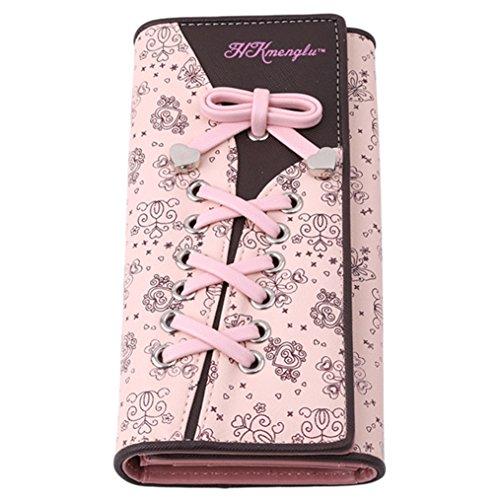 ODN Damen Mädchen Lang Geldbörse Schnürsenkel Bowknot Portemonnaie Brieftasche Handtasche Geldbeutel