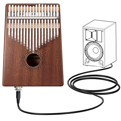 Kalimba 17 Tasti Strumenti Musicali in Mogano con Pick-up Jack, Strumento di Accordatura e Borsa per il Trasporto di Finether (Mogano + Pick-up Jack)