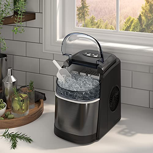 OKADA Portable Ice Maker Countertop - 9 Ice Cubes Ready in 6 Mins - Makes 26 lbs Ice in 24 hrs - Electric Ice Making Machine with Basket and Ice Scoop Black