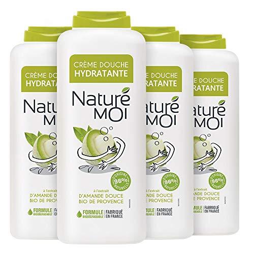 Naturé Moi – Crème Douche à L'Extrait d'Amande Douce Bio de Provence – Hydrate et Nourrit Les Peaux Normales à Sèches – Lot de 4 – 400Ml