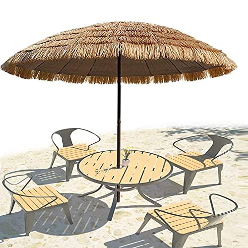 XINGG Paraguas De Fiesta Estilo Hawaiano Hula Thatch Tiki, Sombrilla De Paja De Playa Tropical Hawaiana, Parasol Inclinable para Exteriores con Manivela