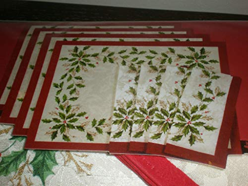 Lenox Holiday Holly 8 Piece Christmas Dining Set Placemats and Napkins for...