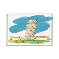 HiYash 手塗りの水彩ピサタワーバスラグノンスリップフロア玄関屋外屋内フロントドアマット、15.7x23.6inバスマットバスルームラグ
