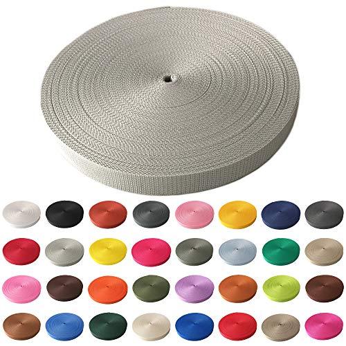 Schnoschi Gurtband Polypropylen 25 Meter lang – viele Verschiedene Breiten und Farben 10mm 15mm 20mm 25mm 30mm 40mm 50 mm (hellgrau, 25 mm)