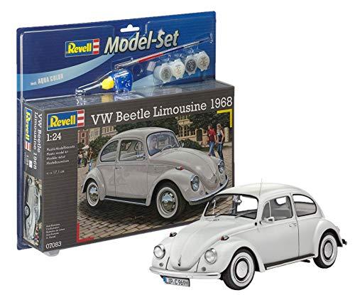 Revell Modellbausatz Auto 1:24 - Volkswagen VW Käfer 1968 (VW Beetle) im Maßstab 1:24, Level 4, originalgetreue Nachbildung mit vielen Details, , Model Set mit Basiszubehör, 67083