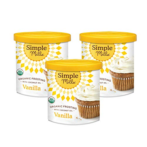 Simple Mills Organic Vanilla Frosting with Coconut Oil, Birthday Cake Frosting, Made with whole foods, 3 Count (Packaging May Vary)