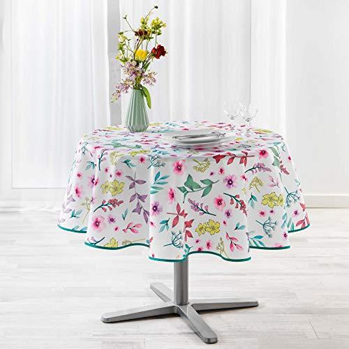 douceur d'intérieur nappe ronde (0) 180 cm polyester imprime freshy blanc