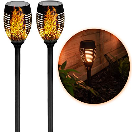 LIVIVO 2er Set Solar Fackeln LED Licht Tanzend Flackern Flammen Fackeln Pfosten Garten Pollerleuchten - Wasserdicht Outdoor Dekoration Lampe - Weg Auffahrt Terrasse Terrassendielen 50cm hoch