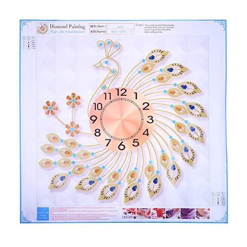 Peacock Crystal Metal Clock Silent 3D Wanduhr Pfau Diamanten Dekorative Uhr Durchmesser 60 cm