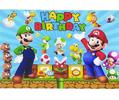 Super Mario Fotografie Hintergrund 1.5x1m Geburtstagsfeier Foto Hintergrund Dekoration Requisiten für Weihnachten Fotografie