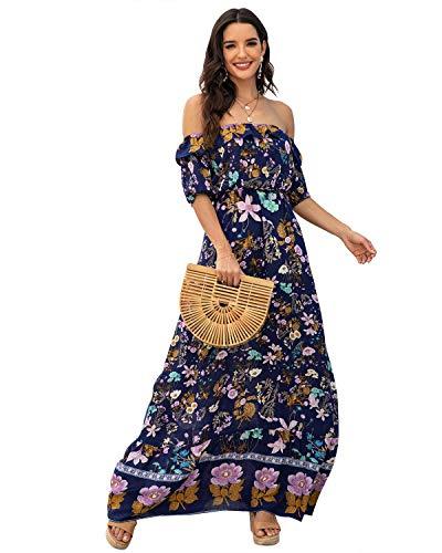 BIUBIU Off The Shoulder Dress,Womens Summer Ruffle Elegant Stretch High Waist Swing Pleated Maxi Long Dresses Blue S