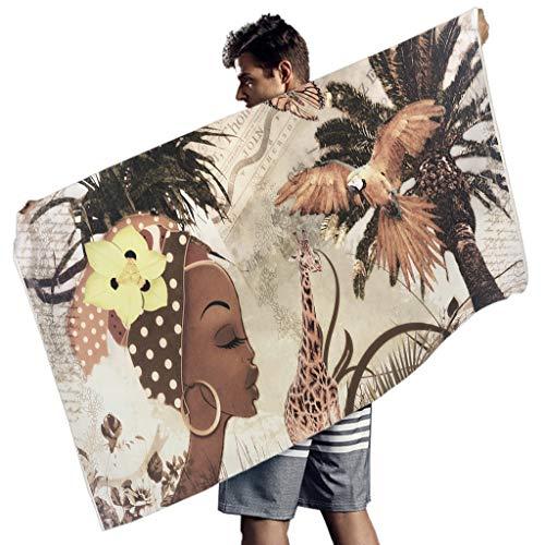 MINNOMO Afrikanisch Frau Kunst Druck Badetücher Vintage Handtücher White 150x75 cm