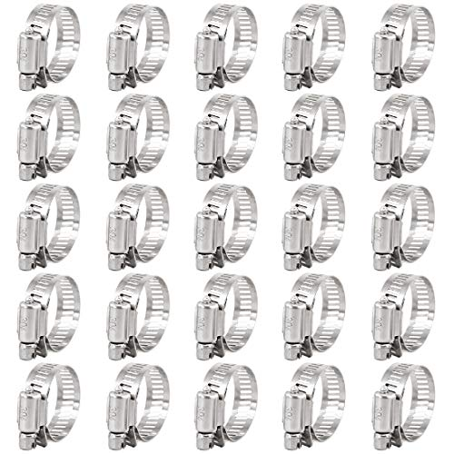 Keadic 25Pcs 18-32MM Worm Gear Hose Clamps 304 Stainless Steel for Plumbing Automotive and Mechanical Applications