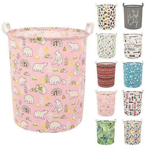 Clothes Laundry Hamper Storage Bin Large Collapsible Storage Basket Kids Canvas Laundry Basket for Home Bedroom Nursery Room Y-Pink Polar bear L
