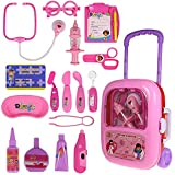 Techno Buzz Deal® Medikid Doctor Play Set with Pink Trolley Suitcase and Light and Sound Effects for Kids - Multi Color