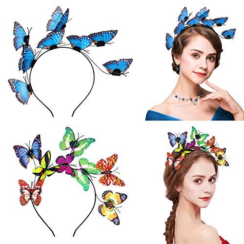 FRCOLOR Schmetterling Haarreif, Glitzer Schmetterling Stirnband dekorative Schmetterling Braut Haarband Party Stirnband für Frauen Kostüm Tee Party Liefert