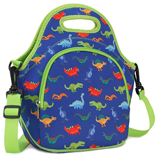VX VONXURY Lunch Bag for Boys Neoprene Lunch Box Bag for Kids Cute Insulated Thermal Lunch Tote with Removable Shoulder Strap Dinosaur