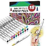 Dual Tip Brush Pen Set, Malstifte Filzstift Art Marker Pens,Farben Stifte für Erwachsene und Kinder,18 Filzstifte Dicke & Dünne Seite for Bullet Journal, Zeichnen, Handlettering, Manga, Fotoalbum