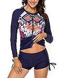 Wolddress Womens Long Sleeve Rashguard Swimsuit Sport Swimwear Tankini Set Navy M
