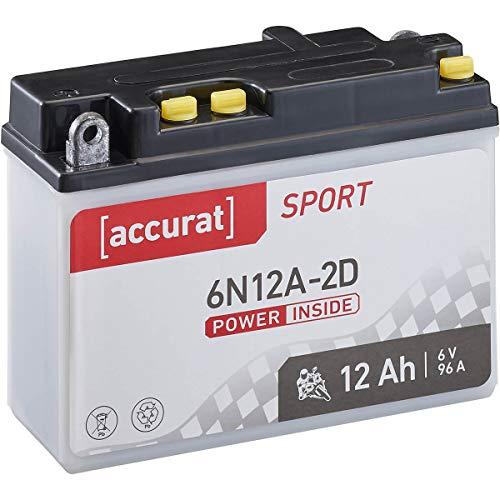 Accurat Motorrad-Batterie 6N12A-2D 12Ah 96A 6V Standard-Nassbatterie inkl. Säurepack WET Starterbatterie in Erstausrüsterqualität leistungsstark