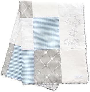 Glenna Jean Starlight Quilt, Blue/White/Grey/Silver Metallic