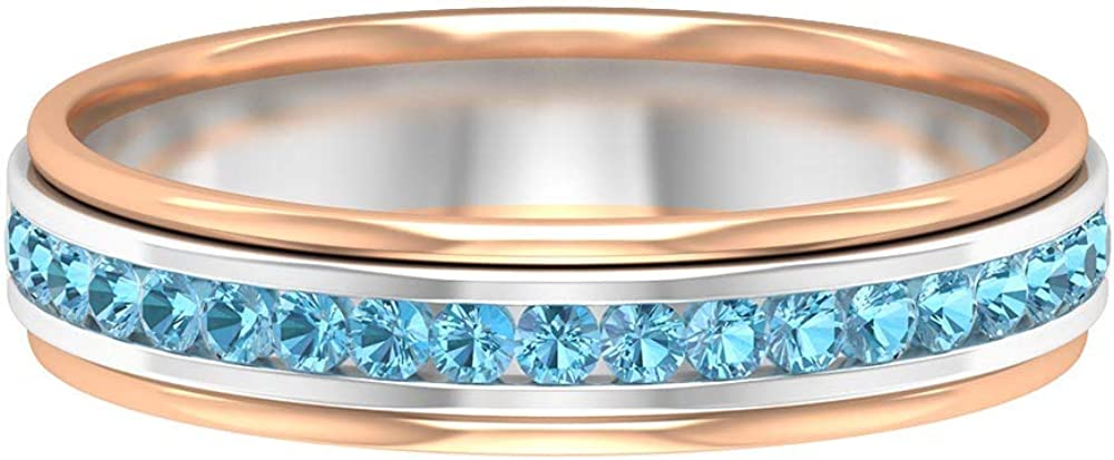 1.50 MM Eternity Ring, Two Tone Gold Wedding Band 14K White Gold