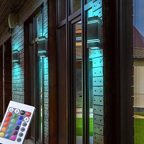 3er Set RGB LED UP DOWN Wand Leuchten schwarz Fernbedienung Fassaden Edelstahl Außen Lampen dimmbar