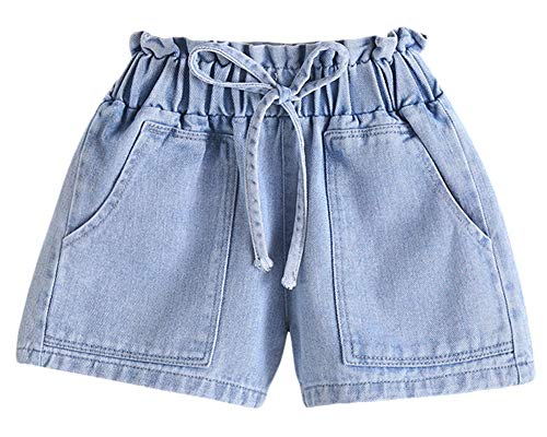 BIUXIAOBAI Girls' Stretch High Waisted Jeans Denim Shorts with Drawstring, 10-12 Years, Blue