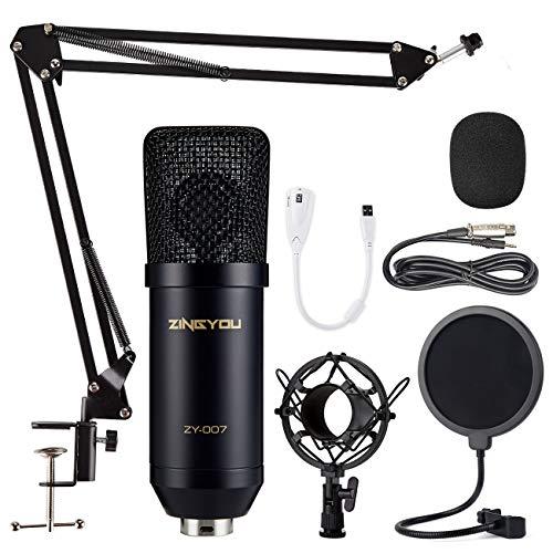 ZINGYOU Micrófono de Condensador Kit, ZY-007 Micro Set Estudio Profesional, Microfono Escritorio Cardioide con Pie&Brazo para PC,Grabar,Gaming,Podcast(Negro)