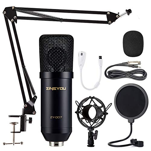 ZINGYOU Kondensator Mikrofon Set, Professionell Tisch Studio Mikrofon mit ArmStänder&Halter, ZY-007 Großmembran Streaming Mic Kit für PC, Aufnahme,Podcast,Gaming,Youtube(Matt-schwarz)