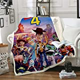 PLstar Cosmos Forky New Toy Story 4 The Walking Toys Sherif Woody Blanket 3D Print Sherpa Blanket on Bed Home Textiles Dreamlike Style(150 X 130CM)