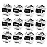 12 Pcs Metal Hand Tally Counter 4-Digit Lap Counter Clicker, Manual Mechanical Handheld Pitch Click Counter with Finger Ring for School Golf & Knitting Row Croche,Silver