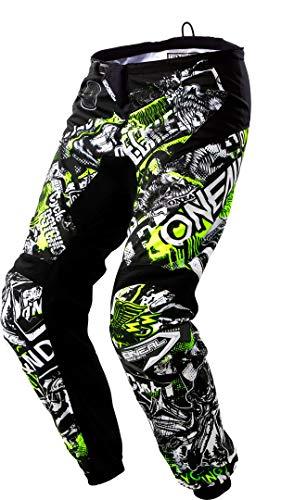 O'NEAL | Motocross Hose | Kinder | Enduro MX | Stretch-Einsätze, Vollständig gefüttert, Schutzpolster aus Gummi für zusätzlichen Schutz | Element Youth Pants Attack | Schwarz Neon Gelb | Größe 27