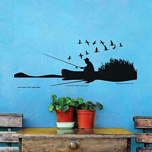 JXMK Man vissen op de rivier en een groep vogels muurstickers landschap vinyl afneembare DIY Home Decor voor woonkamer Decoratie | Muurstickers 144cm x 57cm