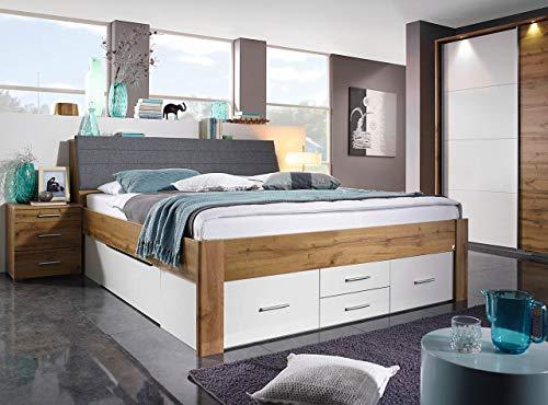 lifestyle4living Funktionsbett in Wotan Eiche-Dekor und Weiß 180x200 cm, Doppelbett mit Stauraum, Kopfteil und Schubladen