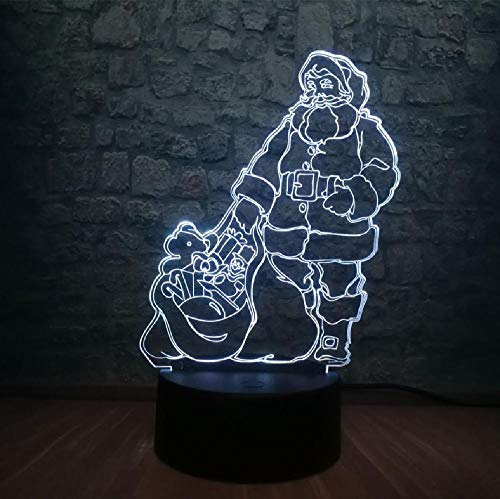 Christmas Gift Santa Claus 3D LED Lamp 7 Color Change Bedroom Night Light Illusion Atmosphere Merry Xmas Home Decor Bluetooth